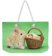 Young Rabbit With Baby Guinea Pig Weekender Tote Bag