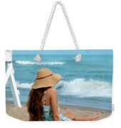 Young Woman Sitting On A Beach Weekender Tote Bag