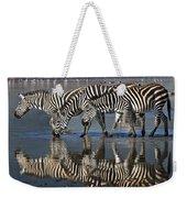 Zebras Drinking Ngorongoro Crater Tanzania Weekender Tote Bag