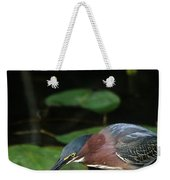 A Green Heron With Fish Weekender Tote Bag