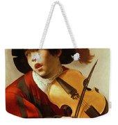 Boy Playing Stringed Instrument And Singing Weekender Tote Bag