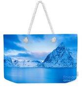Cool Blue Dawn Over Mount Olstind Weekender Tote Bag