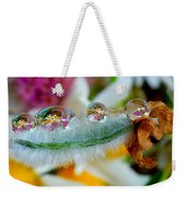 Friendly Company Of Rain Droplets On A Flower Cereal Weekender Tote Bag