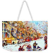 Hockey Game On Colonial Street  Near Roy Montreal City Scene Weekender Tote Bag