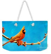 Male Northern Cardinal Perched On Tree Branch Weekender Tote Bag
