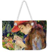Marie Therese Durand Ruel Sewing Weekender Tote Bag by Pierre Auguste Renoir