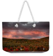 New England Fall Foliage Over The Small White Church Weekender Tote Bag