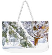 Pine Branch Tree Under Snow Weekender Tote Bag
