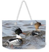 Red-breasted-merganser-ducks Weekender Tote Bag