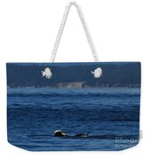 Southern Resident Orcas And Salmon Off The San Juan Islands Playing With Salmon Weekender Tote Bag