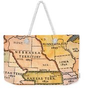 Kansas-nebraska Map, 1854 Weekender Tote Bag