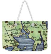 New England Map 1677 Weekender Tote Bag