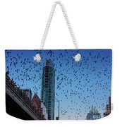 1.5 Million Mexican Free-tail Bats Overtake The Austin Skyline As They Exit The Congress Avenue Bridge Weekender Tote Bag