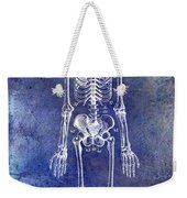 1911 Anatomical Skeleton Patent Blue Weekender Tote Bag