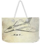 1956 Jet Airplane Patent 2 Blue Weekender Tote Bag