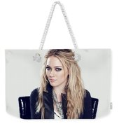 83110 Blonde Jacket Sitting Simple Background Hazel Eyes Hilary Duff Women Weekender Tote Bag