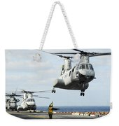 A Ch-46e Sea Knight Helicopter Takes Weekender Tote Bag