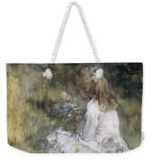 A Girl With Flowers On The Grass Weekender Tote Bag