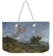 A Landscape With A High Dune And Peasants On A Road Weekender Tote Bag