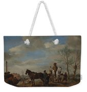 A Man And A Woman On Horseback Weekender Tote Bag