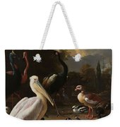 A Pelican And Other Birds Near A Pool, Known As The Floating Feather, Melchior D Hondecoeter, Weekender Tote Bag