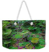 A Pretty Pond Full Of Lily Pads At A Water Temple In Bali. Weekender Tote Bag