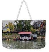 A Raft House Moored To The Shoreline Of Ada Medjica Islet Weekender Tote Bag