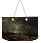 A River Near A Town By Moonlight Weekender Tote Bag
