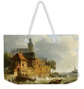 A Rowing Boat In Stormy Seas Near A City Weekender Tote Bag