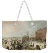 A Scene On The Ice Near A Town Weekender Tote Bag