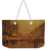 A Street At Night Weekender Tote Bag by John Atkinson Grimshaw