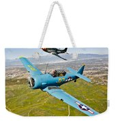 A T-6 Texan And P-51d Mustang In Flight Weekender Tote Bag