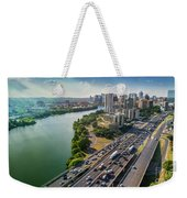 Aerial View Of The Austin Skyline As Rush Hour Traffic Picks Up On I-35 Weekender Tote Bag