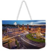 Aerial View On Placa Espanya And Montjuic Hill With National Art Weekender Tote Bag