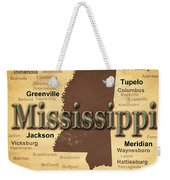 Aged Mississippi State Pride Map Silhouette  Weekender Tote Bag
