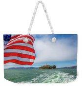 Alcatraz Island With American Flag Weekender Tote Bag