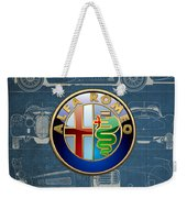 Alfa Romeo 3 D Badge Over 1938 Alfa Romeo 8 C 2900 B Vintage Blueprint Weekender Tote Bag