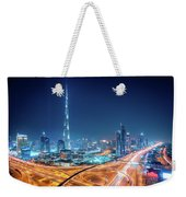 Amazing Night Dubai Downtown Skyline, Dubai, United Arab Emirates Weekender Tote Bag