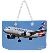 American Airlines Plane Preparing To Land At The Bwi Airport Weekender Tote Bag