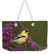 American Goldfinch In Redbud Weekender Tote Bag