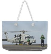 An Mh-60r Seahawk Embarked Aboard Uss Weekender Tote Bag