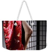 Asian Woman In Red Kimono Weekender Tote Bag