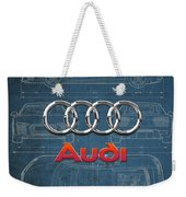 Audi 3 D Badge Over 2016 Audi R 8 Blueprint Weekender Tote Bag by Serge Averbukh