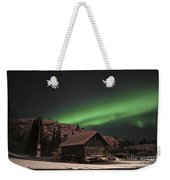 Aurora Borealis Over A Cabin, Northwest Weekender Tote Bag