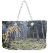 Autumn Coniferous Forest In The Morning Mist Weekender Tote Bag