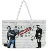 Banksy - The Tribute - Follow Your Dreams - Steve Jobs Weekender Tote Bag by Serge Averbukh