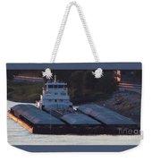 Barge On Mississippi River Weekender Tote Bag