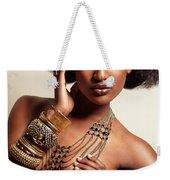 Beautiful African American Woman Wearing Jewelry Weekender Tote Bag