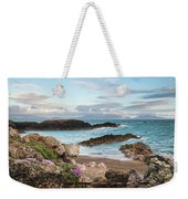 Beautiful Landscape Image Of Rocky Beach With Snowdonia Mountain Weekender Tote Bag