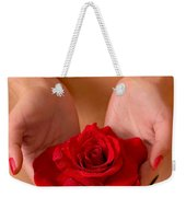 Beautiful Nude Woman Holidng Red Rose Weekender Tote Bag